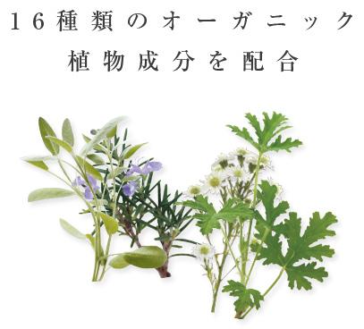 16種類のオーガニック 植物成分を配合